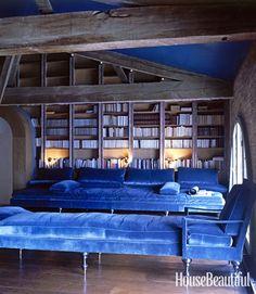 Pauline de Rothschild's library at Château Mouton Rothschild, Pauillac, France.