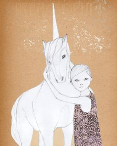 Girl and Unicorn print of original drawing. $20.00, via Etsy.