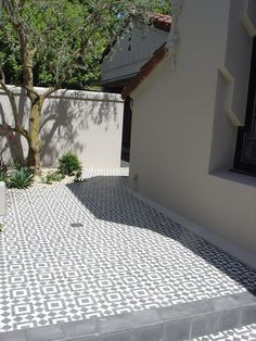 Fez - Black and White Cement Tile Patio