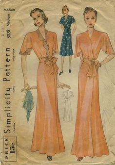 Vintage Sewing Pattern | Negligee or Housedress | Simplicity 3028 | Year 193? | Size Medium