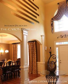 Window tx above door -- Foyer and Dining Room transition Foyer, Entryway, Interior Design Photos, Columns, Window Treatments, Sweet Home, Room Ideas, Dining Room, Windows
