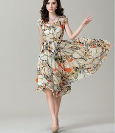 2014 spring and summer fashion new pastoral Bohemian Floral chiffon long dress casual women's high waist dresses plus size XXL