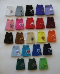 Felt Dresses (by ONE by one, via Flickr).  Great to make for Barbie tops or dresses for Kelly dolls (Barbie's sister).