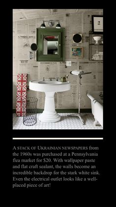 Newspaper Wall, Beekman 1802, White Sink, Still Photography, Wallpaper Paste, Electrical Outlets, Room Inspiration, Backdrops, Bathrooms