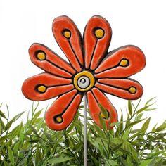 Ceramic flower garden art. Red garden decor. www.gvega.com.