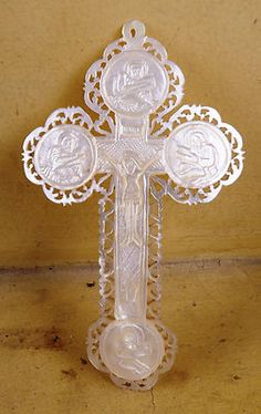 Beautiful Mother OF Pearl Cross Crucifix Antique Hand Carved Beautiful | eBay