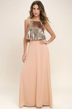 Wow Factor Rose Gold Sequin Two-Piece Maxi Dress ea7d91be8686