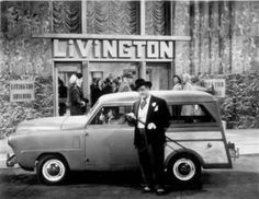 Lou Costello with a 1949 Crosley station wagon. Guess he liked small cars -- got a pic of him piloting a Playboy Motors coupe as well.