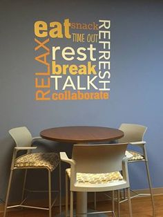 This is a popular #uppercaseliving custom design for a #breakroom. Lots of color and font options. #ultorreh #takeabreak #eat #wallart #office #atwork