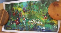 LeRoy Neiman Fox Hunt With Unicorn Fantasy Horse Serigraph Canvas Never Framed
