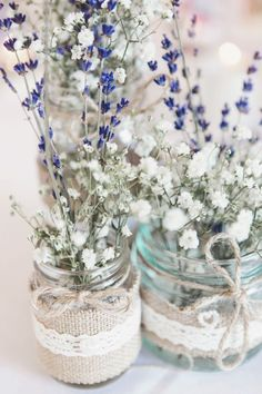 Jar Lavender Gypsophila Baby Breath Flowers Tables Centrepiece
