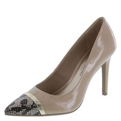 "This gorgeous designer pump from Christian Siriano let's you make a true fashion statement! It features a perfectly pointed toe with faux snakeskin and metallic accent, jersey lining, padded insole, 3 3/4"" wrapped heel, and a sturdy outsole. Manmade materials."