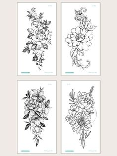 Tatoo Floral, Floral Thigh Tattoos, Floral Tattoo Design, Flower Tattoo Designs, Floral Tattoo Sleeves, Floral Shoulder Tattoos, Flower Tattoos On Arm, Thigh Sleeve Tattoo, Half Sleeve Flower Tattoo