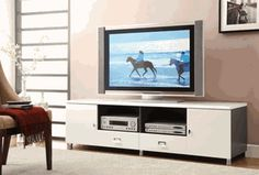 Contemporary TV Console with Chrome Hardware / B3615 - COASTER