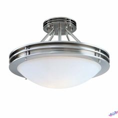 Hampton Bay Brushed Nickel LED LowProfile Flushmount with Frosted