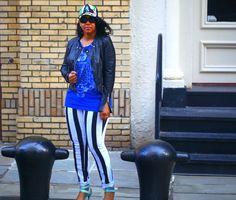 My style: Burglar stripes & blues - Bagatelle leather jacket, Pierre Balmain Sleeveless t-shirt, Hybrid striped jeans, Alexander Wang Rocco studded duffel bag, Skin Ark Bar Pumps, Target Floral Baseball cap