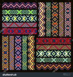 Trendy, Contemporary Ethnic Seamless Ribbons And Braid, Border, Pattern, Embroidery Cross, Squares, Diamonds, Stripe. Illustration vectorielle libre de droits 356131706 : Shutterstock