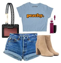 """""""Its P E A C H Y man"""" by hlheutte on Polyvore featuring LULUS, NARS Cosmetics, Yves Saint Laurent and MAC Cosmetics"""
