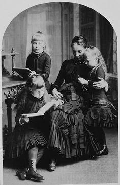 Princesses Maria, Victoria Melita and Alexandra of Edinburgh with their governess Mademoiselle Heinn, 1884