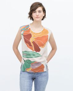Image 1 of COLORFUL FLORAL T-SHIRT from Zara
