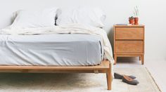 Solid White Oak Platform Bed on Etsy, $1,345.00