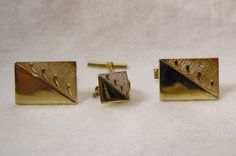 Etched Gold-Tone Cuff Links & Tie Tack set #Unbranded