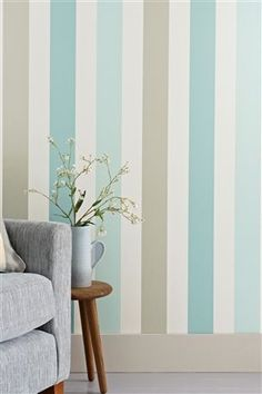 Promenade Teal Band Stripe Wallpaper