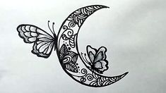 doodle moon easy drawing draw butterflies drawings butterfly doodles sketch zentangle pencil tattoo zentangles