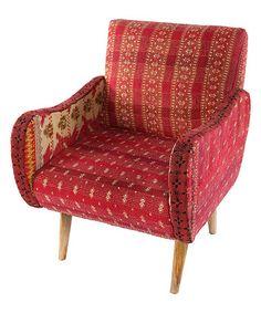 Look at this #zulilyfind! Red Kantha Lounge Chair #zulilyfinds