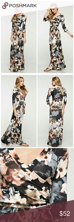 Watercolor Floral Print Dress 3/4 Sleeve Watercolor Floral print wrap maxi dress.   95% Polyester 5% Spandex Dresses Maxi