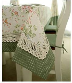 Diaidi French Country Tablecloth, Dot Floral Table Cloth, Splicing Green Lace Table Cover, Dinning Restaurant Table Overlays, Vintage Style byTo extend a tablecloth that is too small