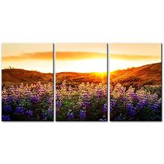 Framed Sunrise Floral Nature Landscape Canvas Art Prints Picture Wall Home Decor #SoCrazyArt #Impressionism