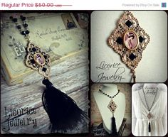 Gatsby Style LONG FLAPPER Cameo Beaded Tassel Necklace by LicoriceJewelry