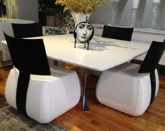 SOLD Ligne Roset Whtie Dining Table with Set 4 Tazia Chairs