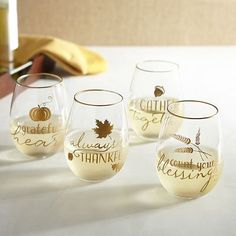Our stemless glasses are stunning in more ways than one. Sweet sentiments. Gilded rims. Handblown glass. All four feature a different hand-painted fall element and message, so you can easily tell drinks apart when you're celebrating the season with family or friends.