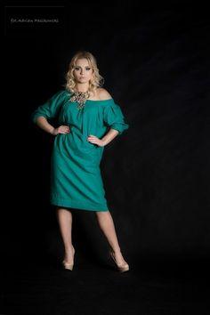 lniana zielona tunika - Estera-Grabarczyk - Sukienki ekologiczne