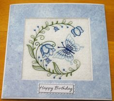 complete embroidered Birthday card Beautiful Butterfly and Blue bells