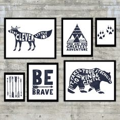 This tribal, monochromatic native woodland themed Navy Blue and white nursery art print-it-yourself art set is perfect for your minimalist room, or navy nursery and features  -14x11 inch printable of an inky fox that read stay clever little fox -14x11 inch printable of a bear that reads it takes true strength to be kind & gentle -8x10 inch printable with an indian teepee that reads you are our greatest adventure -8x10 inch printable with an arrow that says be brave -5x7 inch printable wit...