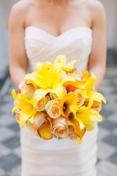 Yellow bridal bouquet. Photo: http://www.jodimillerphotography.com
