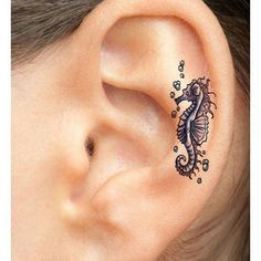 Pin for Later: 27 Ear Tattoo Ideas That Are Whispering For Your Attention Seahorse
