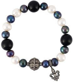 Loree Rodkin diamond charm and pearl bead bracelet