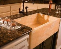 Natural stone shallow kitchen sink. In Angola Black granite. Other ...