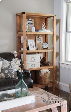 open wood bookcase (DIY Pottery Barn hack) for awkward corner