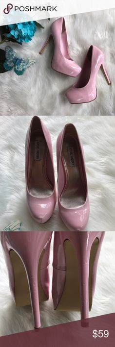 """Steve Madden Patent Leather Pumps Platform stiletto heels. In excellent condition. 5 1/4"""" heel. Color can be described as: Light Pink, Baby Pink, Pastel Pink, Blushed Pink. Steve Madden Shoes Platforms"""