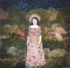"""""""she saw through the night by the light from her crown of stars"""" by amanda blake art."""