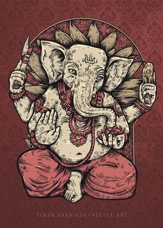 Illustration - GANESH by timur khabirov, via Behance Ganesha Tattoo, Ganesha Art, Shri Ganesh, Lord Ganesha, Krishna, Indian Gods, Indian Art, Illustrations, Illustration Art