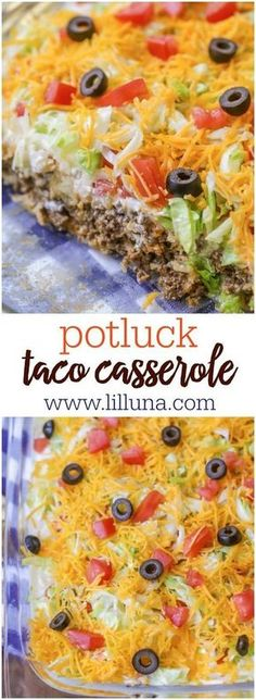 Delicious Taco Casserole that has a meat and biscuit base and is topped with sour cream, lettuce, tomatoes, cheese and olives.