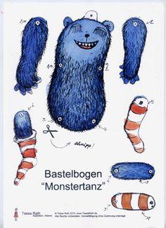 MOnster Bastelbogen Hampelmann Papierpuppe von TessaRath auf Etsy