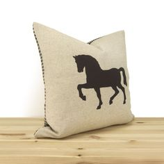 Horse pillow cover in chocolate brown and by ClassicByNature, $40.00