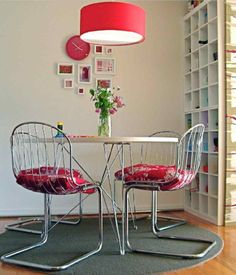 Boring dinette set -- great color in pillows and lamp